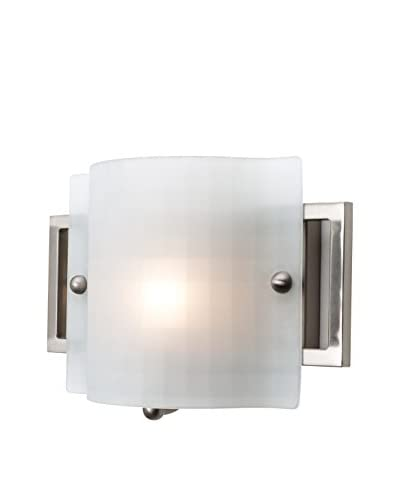 Access Lighting Nara 1-Light Vanity, Brushed Steel/Checkered Frosted