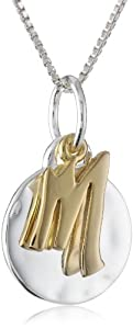 """Two-Tone Sterling Silver with Yellow Gold Flashed Two Piece Initial M Pendant Necklace, 18"""""""