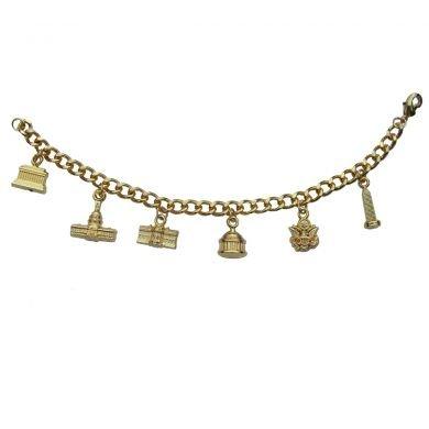 Washington, DC Monuments Golden Charm Bracelet - 6 inch.- Great Stocking Stuffer!!