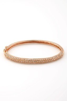 Chantel's 925 Sterling Rose Plated Bangle Bracelet w/ Micro Pave Set Round Clear CZ - Incl. ClassicDiamondHouse Free Gift Box & Cleaning Cloth