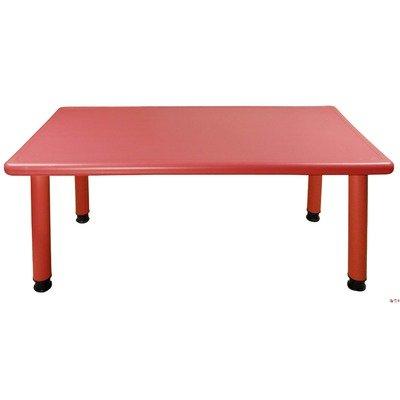 Ecr4Kids Rectangular Plastic Table Leg Height: 20, Color: Red