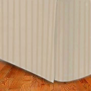 Marrikas (Tm) 1500 Class Microfiber King Bed Skirt Stripe Tan front-449130