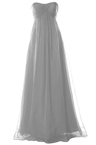 MACloth Women Strapless Empire Chiffon Long Bridesmaid Wedding Party Formal Gown (24w, Silver) (80s Fancy Dress Plus Size)