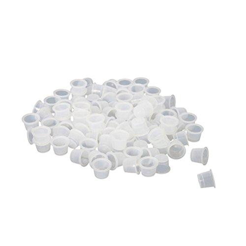 ensunpal store 100pcs Plastic Medium Tattoo Ink Cups Caps Holder Supplies