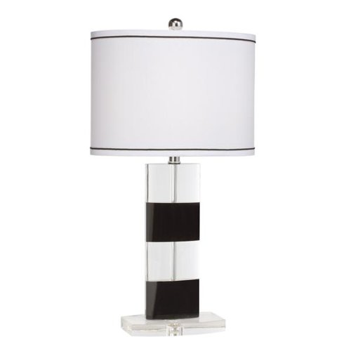 Kichler Lighting 70762 New Traditions 25-Inch Portable Stripe Table Lamp, K9 Clear and Black Optical Crystal with White Oval Black-Trimmed Shade