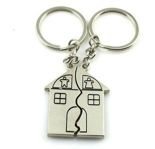 10 Pair Happy Family Couple Key Chain House Lovers Key Ring Metal Material Key Fob Handbag Decoration Fashion Accessories New Gift