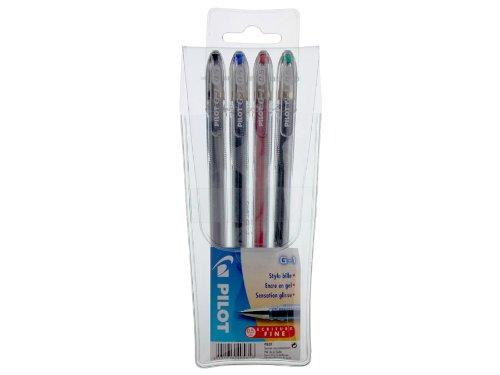 Pilot G-1 - Pack de bolígrafos (tinta de gel, punta fina), color rojo, verde, negro y azul