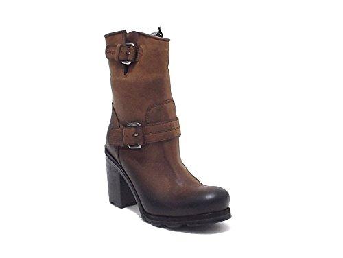 Oxs scarpe donna, articolo 1743, anfibio Frank in pelle vintage, colore marrone