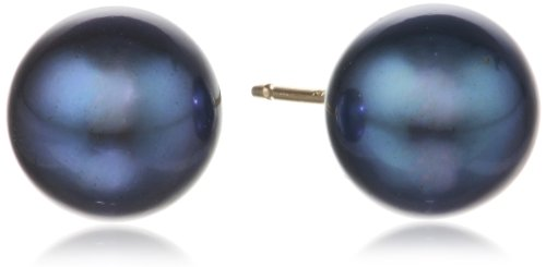 14k Yellow Gold and AA Freshwater Cultured Pearl Stud Earrings (8.0-8.5mm)