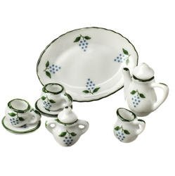 8 Piece Tiny White Ceramic Tea Service for Two with Dainty Grape Design