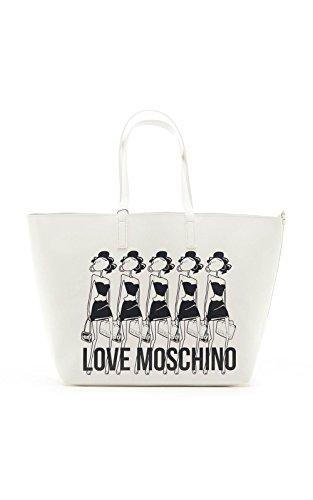 MOSCHINO - BORSA PVC BIANCO ST.ARGENTO JC4308PP01KT0100 SS16