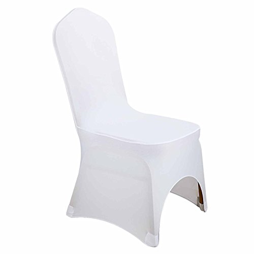 50 White Chair Cover Polyester Spandex Folding Chair Slipcover for Wedding Party