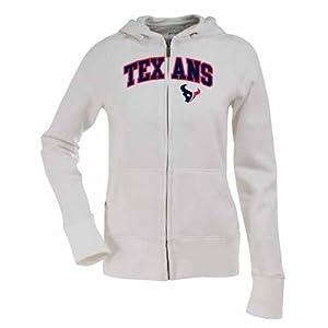 Houston Texans Applique Ladies Zip Front Hoody Sweatshirt (White) by Antigua