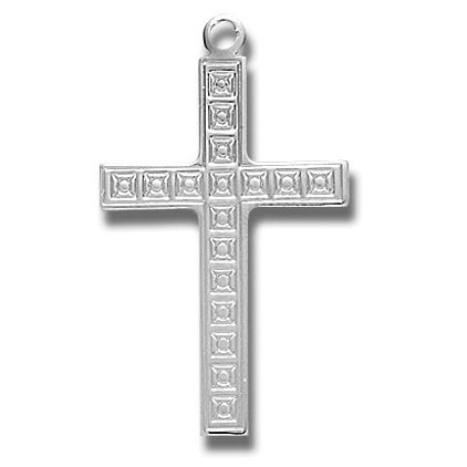 Sterling Silver Medium Fancy Cross with 24