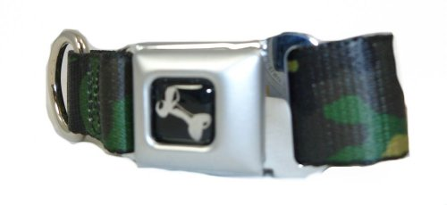 "Green Camouflage Seat Belt Buckle Style Dog Collar 1"" 9-15"""