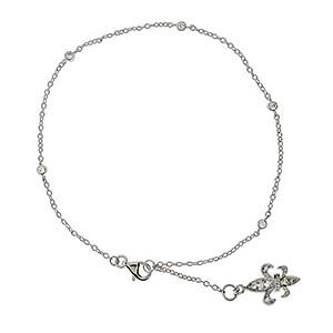 Sparkling CZ Studded Chain Silver Fleur de Lis Anklet - Clearance Final Sale