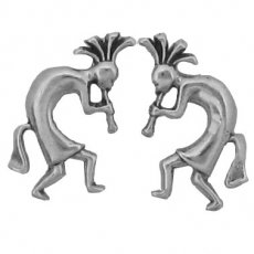 Sterling Silver Earrings Posts Studs Kokopelli Playing the Flute and Dancing