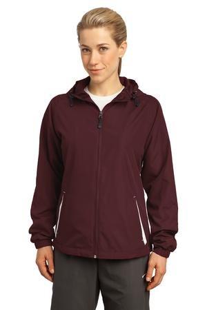 Sport-Tek - Ladies Colorblock Hooded Windbreaker Jacket. Lst76,Small,Maroon / White front-77998