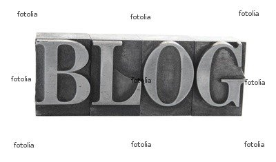 "Wallmonkeys Peel and Stick Wall Graphic - The Word 'BLOG' in Old, Inkstained Metal Type - 36""W x 21""H"