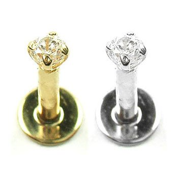 14K Gold Labret/ Monroe with 2mm round CZ stone, 18 Ga,Length:1/4