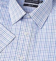 Cotton Rich Short Sleeve Easy to Iron Checked Slim Fit Shirt