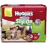 NewBorn, Baby, Huggies Little Movers Slip-On Diapers Jumbo Pack - Size 3 26ct. New Born, Child, Kid