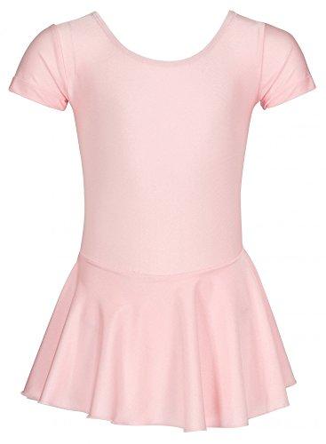 """tanzmuster Kinder Ballettanzug Ballett Trikot """"Marina"""" mit angenähtem Röckchen. Hübsches Ballettkleid mit rundem Ausschnitt in rosa, weiß und schwarz"""
