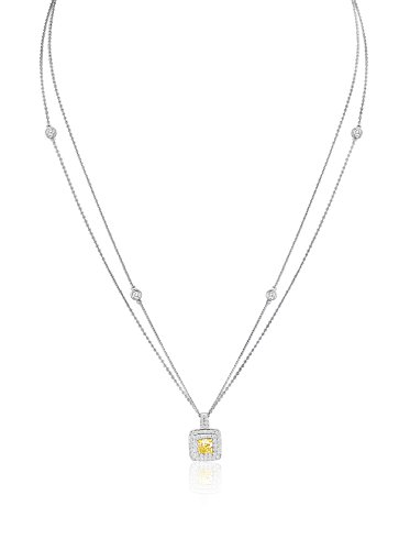 Bouquet 1 Carat Fancy Light Yellow Cushion/White Diamond 18K Gold Pendant Necklace