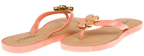 VeeVee Ladies Pcu Flip Flop With Flower Ornament - Light Coral, Size 11 (More Colors and Sizes Available) Sequined Espadrille