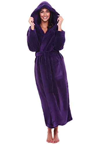 Del Rossa Women's Fleece Robe, Long Hooded Bathrobe