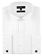2in Longer Autograph Pure Cotton Slim Fit Pleated Shirt