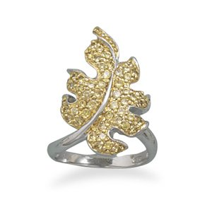 Sterling Silver Two Tone CZ Leaf Ring / Size 6