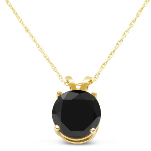 Carbonado ♦♦♦ 2ct Black Diamond Solitaire Necklace in 14k Yellow Gold 18″