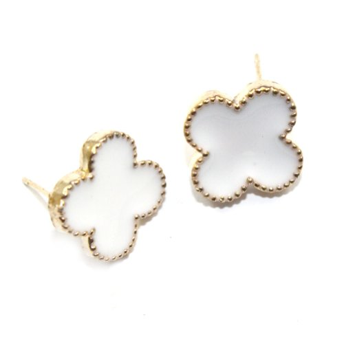 Zehui NEW Fashion White Korea Style Cute Enamel Clover Golden Alloy Stud Earrings