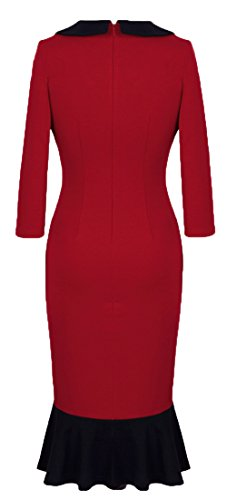 Homeyee Women's V neck Ball Fishtail Pencil Dress UB27(12, Red)