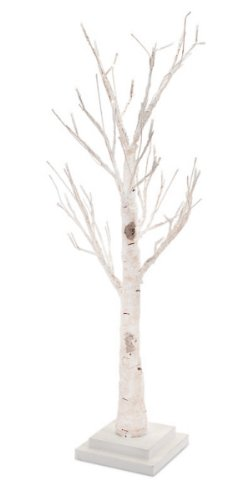 "26"" Pre-Lit Elegant White Birch Artificial Twig Tree - Clear Led Lights"