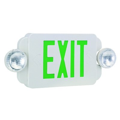 Royal Pacific RXEL19GW Exit Sign / Emergency Light Combo, White with Green Letters