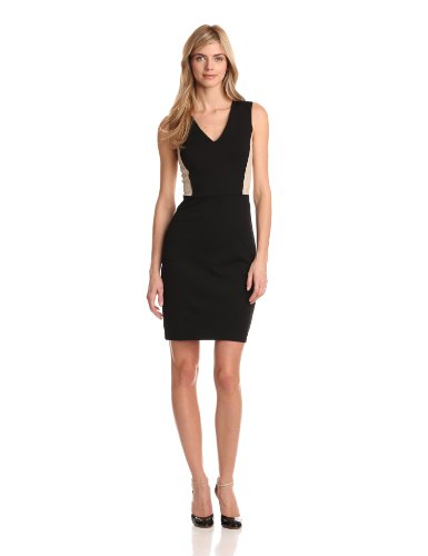 DKNYC Women's Sleeveless V-Neck Dress With Lace Back And Side Panels