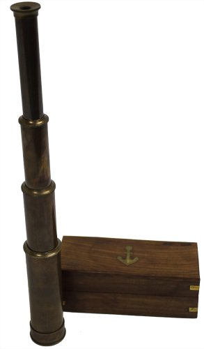 """15"""" Handheld Pirate Telescope With Wooden Box - Nautical Antique Finish"""