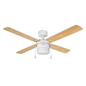 "MiniSun White 42"" Modern Ceiling Fan with Light & White/Beech Reversible Blades"