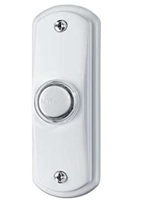 NuTone PB53LWH Wired Lighted Door Chime Push Button, White Finish