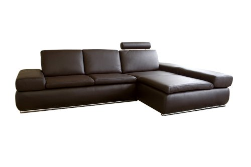 Baxton Studio Carina 2-Piece Brown Leather Sofa Sectionals front-12743