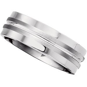 7.2 mm Titanium Comfort Fit Satin and Polished Double Grooved Ring Size 13