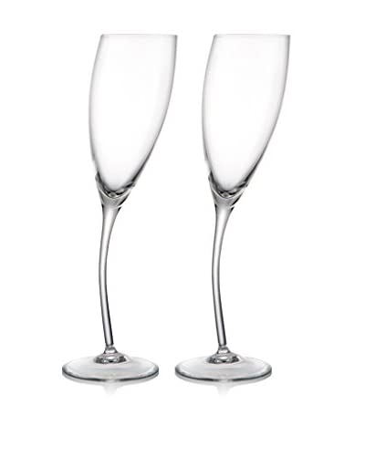 Nambe Set of 2 Rogaska 8.5-Oz. Tilt Flutes, Clear