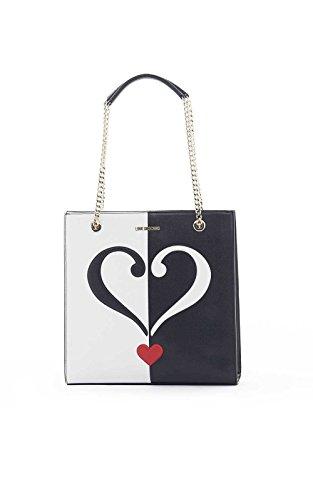 LOVE MOSCHINO Borsa shopping verticale bicolore saffiano pvc NERO BIANCO