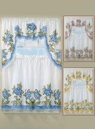 floral applique kitchen curtain set 29 w x 36 l tier