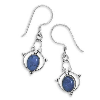 Oval Lapis Earrings on French Wire