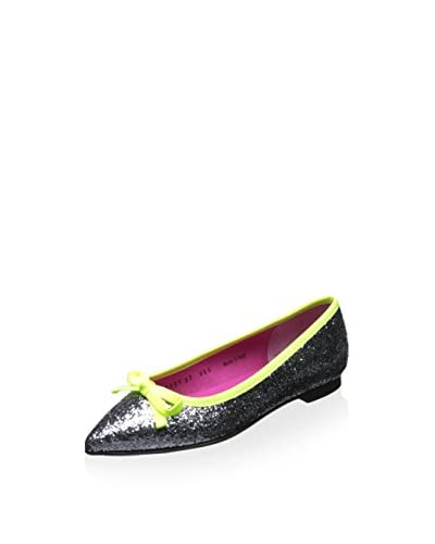 Le Babe Women's Flat with Bow  [Grey Glitter/Neon Green]