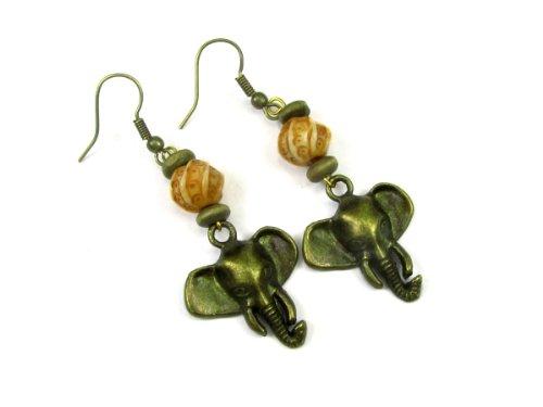 Bronze Tone Elephant Head Dangle Earrings, Accented With Decorative Bone Beads