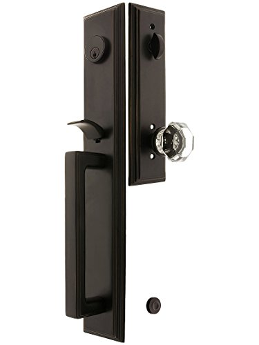 """Melrose Style Tubular Handleset In Oil Rubbed Bronze With Old Town Knobs And 2 3/4"""" Backset. Antique Handles. front-794507"""
